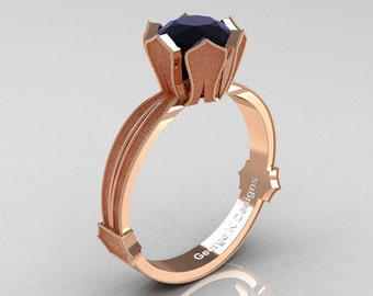 Classic Armenian 14K Rose Gold 1.0 Ct Black Diamond Solitaire Engagement Ring R377-14KRGSBD