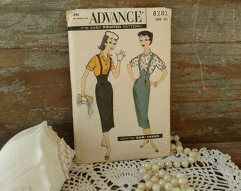 Retro Girls UNCUT Dress Pattern by Advance - Vintage Printed Paper Pattern for Sub Teens, Uniform Pattern for Girls Clubs, Mid Century