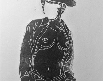 """inspiration erotique vintage linogravure imprimé à l'encre à l'huile  sur papier de riz """" Angèle"""""""