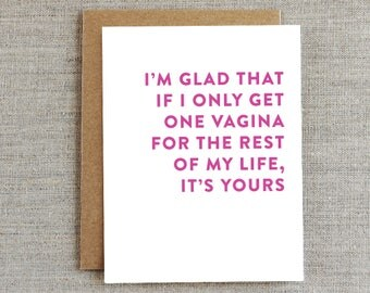 Funny Love Card, Funny Vagina Card, Funny Relationship Card, Funny Anniversary Card, Card for Her, Card for Girlfriend, Humor Card