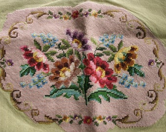 Vintage Unfinished Needlepoint Embroidery, Victorian, Chair Cover,