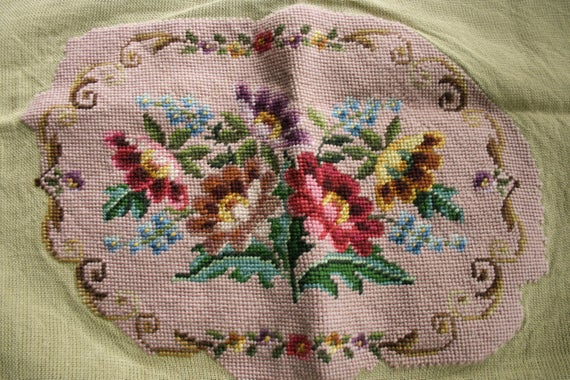 Vintage unfinished needlepoint embroidery victorian
