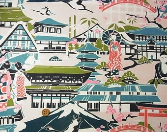 Japanese Fabric : Sightseeing in Japan - 1/4 Yard