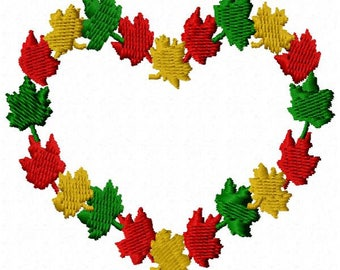 Leaf Heart Machine Embroidery Design - Instant Download
