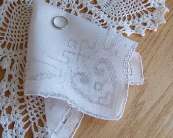 Wedding Accessory Vintage Hanky Heart Shaped Embroidery for a Bride's Handkerchief Something Old Shower Gift