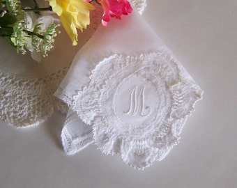 Lace Wedding Hanky Monogrammed M, Bridal Shower Gift, Bridesmaid Gift, Something Old Handkerchief for Happy Tears