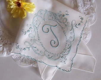 Bride's Wedding Hanky Monogrammed T, Something Old Handkerchief in Aqua Blue, Heirloom Quality Wedding Shower Gift