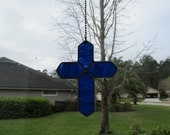 "Cobalt Blue and White Wispy Translucent Stained Glass Cross Fan Pull  - Unusual Gift Idea 4.25"" x 5.5"""