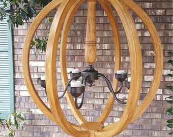 "24"" Distressed Stained Orb Chandelier Sphere Wood Chandelier Rustic Farmhouse Free Shipping"