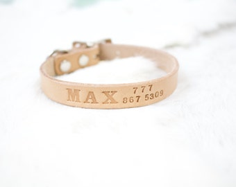 Personalized Small Leather Dog Collar