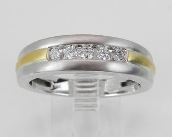 Men's Diamond Wedding Ring Anniversary Band White and Yellow Gold Size 10.25