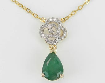 """Emerald and Diamond Drop Pendant 14K Yellow Gold Necklace 17"""" Chain May Birthstone"""