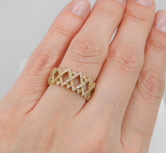 Diamond Cluster Cocktail Ring Anniversary Band 14K Yellow Gold Ring Size 7