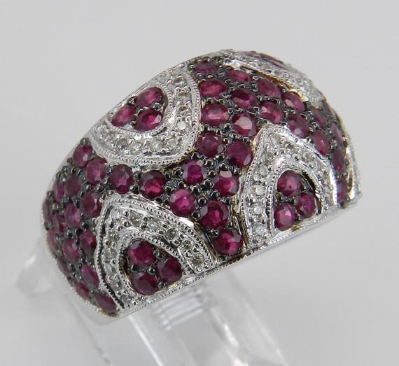 3.73 ct Diamond and Ruby Wide Cluster Statement Ring Anniversary Band 14K White Gold Size 7.25