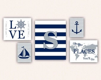 Nautical Nursery Print Set - Navy & Gray Anchor, Sail Boat, Love, World Map, Oh the Places You'll Go on Chevrons, Stripes (5001)