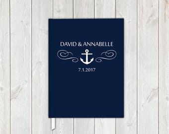 Nautical Anchor Wedding Guest Book in Navy Blue and White - Personalized Traditional Guestbook, Journal, Album