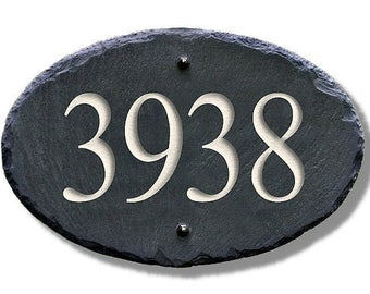 SLATE ADDRESS NUMBER Sign / Carved House Stone /  Plate / Personalized / Custom  #Ma-2-3S