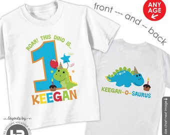Dinosaur Birthday Shirt or Bodysuit - Personalized with child's age and name - Front & Back Birthday Shirt