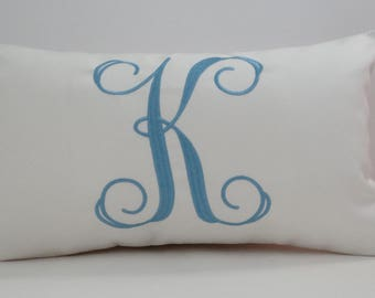 MONOGRAM WEDDING GIFT pillow cover Sunbrella embroidered letter initial alphabet personalized nursery pillow dorm decor Oba Canvas Co.