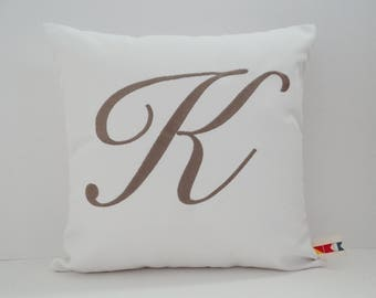 Sunbrella MONOGRAMMED LETTER PILLOW cover indoor outdoor embroidered personalized initial wedding or bridal anniversary gift oba canvas co.