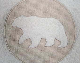 Grizzly Bear Embossed Design Embroidered on Hand or Bath Towel
