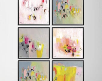 "Abstract print set of 6 pink grey aqua giclee prints 12x12 wall decor Colorful happy whimsical Feminine Art ""Love letters"""
