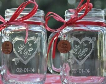 Heart and Arrow Mason Jar Set