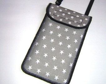 iPhone 6 Case Neck Pocket Smartphone Purse Crossbody Cellphone Cover Small Shoulder Cute Mini Sling Bag mixed fabrics gray white