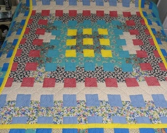 Hand Quilted 1930's Revival Nine-Patch quilt by Karrirose
