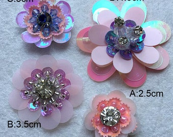 15-30pcs 2.5-4.8cm wide pink Rhinestones sequins beads flower appliques patches brooch NE46ON115SI free ship