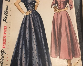 Vintage 1940s Simplicity 2741 Sewing Pattern Scoop Neckline Full A-line skirt Formal Gown or Dress Collar Cuffs Size 12 Bust 30