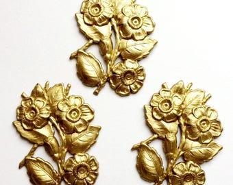 Vintage Brass Flower Bouquet, Flower Spray, Flower Stampings, Jewelry Supplies, Jewelry Making, Raw Brass, US Made, 48x37mm, B'sue,Item0889