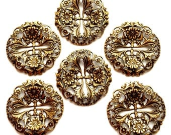 Filigree Stamping, 6 Piece Packages, Jewelry Supplies, Slotted Design, Brass Ox, B'sue Boutiques, Nickel Free, US Made, 39mm, Item02195