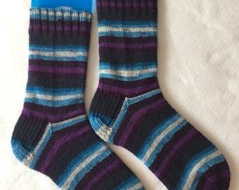 Purple and Blue Stripe Handknit Socks