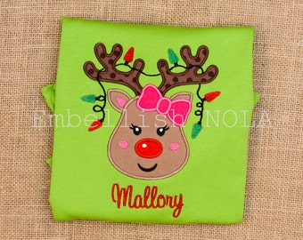Christmas Lights Reindeer Applique Lime Green Long Sleeve Ruffle Shirt Christmas Shirt Christmas Outfit