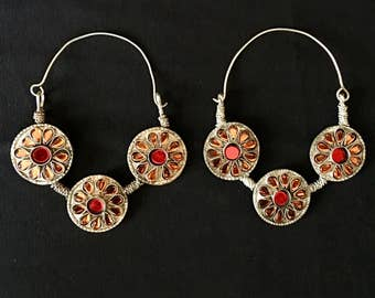 Vintage Afghan KUCHI Large Hoop Earrings Boho Gypsy Tribal Burlesque Belly Dance Uber Kuchi®