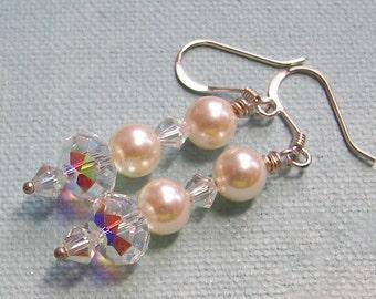 Bridal Earrings, Swarovski Crystal and Pearl Dangle Earrings,  Wedding Jewelry, Custom Pearl Jewelry, Prom Earrings, Bridesmaid Earring