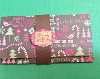 Christmas Money/Gift/Check Card Holder, Brown, Trees, Birds, Candy Cans, Happy Holidays, Red, Brown Trees Inside, Handmade, Sizzix