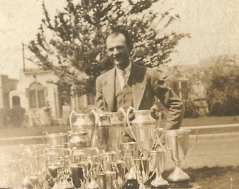 """Vintage Photo """"Loving Cup"""" Silver Trophy Award Small Photo Found Vernacular Photo"""
