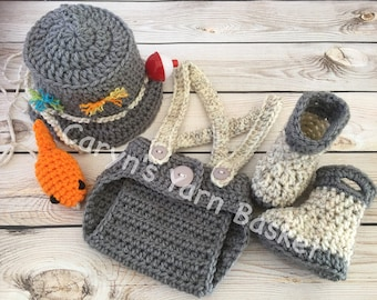READY TO SHIP Fishing Fisherman Hat 5 pc Diaper Cover Set w/ Waders, Boots & Fish, Newborn, 0-3 Months, 3-6 Months, Photography Prop