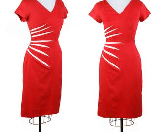 1950s Dress // Red Hot Bombshell Linen Wiggle Dress by Sa'Bett of California
