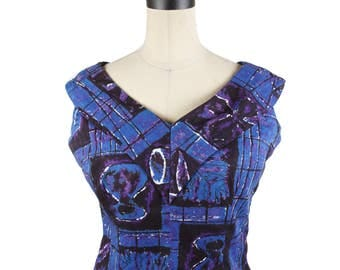 1950s Top // Hawaiian Casuals by Stan Hicks Blue Sleeveless Top with Leaf Pattern