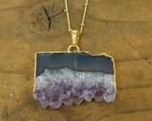 Amethyst Slice Necklace Raw Crystal Necklace, Amethyst Crystal, Purple Crystal, Raw Amethyst, Amethyst Druzy Necklace, Boho Necklace |NC2-13