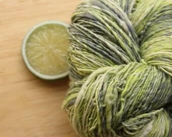 Mod Lime - Handspun Wool Yarn Merino Silk Sparkle Sport Citron