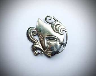Theatre Mask Brooch