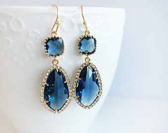 Navy Blue Earrings, Sapphire Wedding, Bridal Jewelry, Birthstone, Gold Filled Dangle Tear Drop Earrings, Prom Jewelry, Bridesmaids Gift
