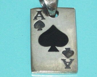 "Large 1 1/8"" Thick Sterling Silver Black INLAY ACE of SPADES Card Pendant Gambling 8.6g"