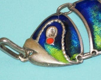 Vintage Rare 800 Silver Enamel Movable Articulated FISH Pendant 17.3g