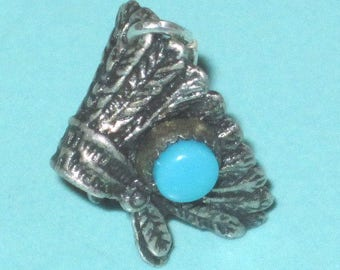 Vintage Sterling Silver Turquoise INDIAN CHIEF Feather Headdress Charm 1.5g