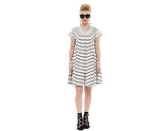 Flapper Dress in Black and White Stripes, Short Casual Dress for Women, Trendy Spring Dress, Handmade Chic Boho Dress